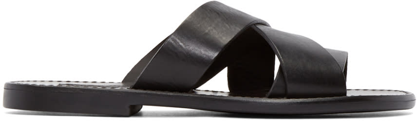 Dolce and Gabbana Black Leather Multi-strap Sandals