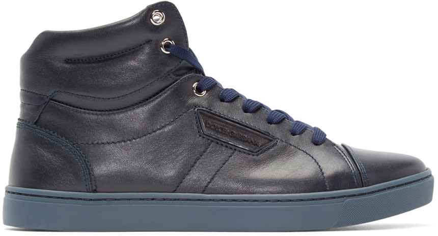 Dolce and Gabbana Navy London High-top Sneakers