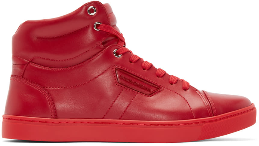 Dolce and Gabbana Red London High-top Sneakers