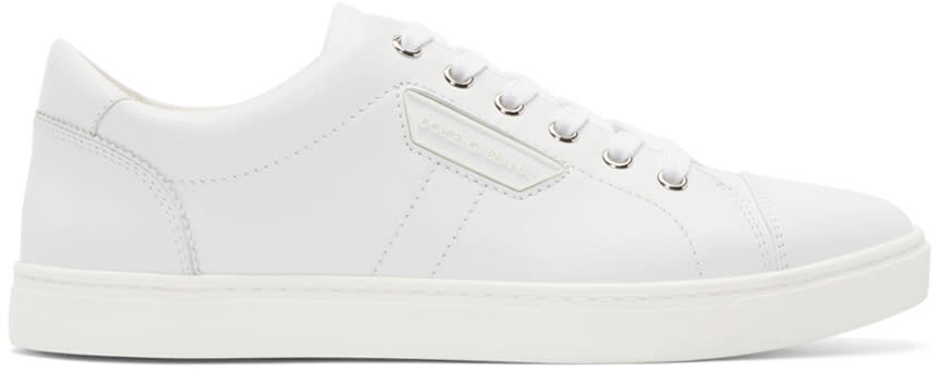 Dolce and Gabbana White Leather London Sneakers