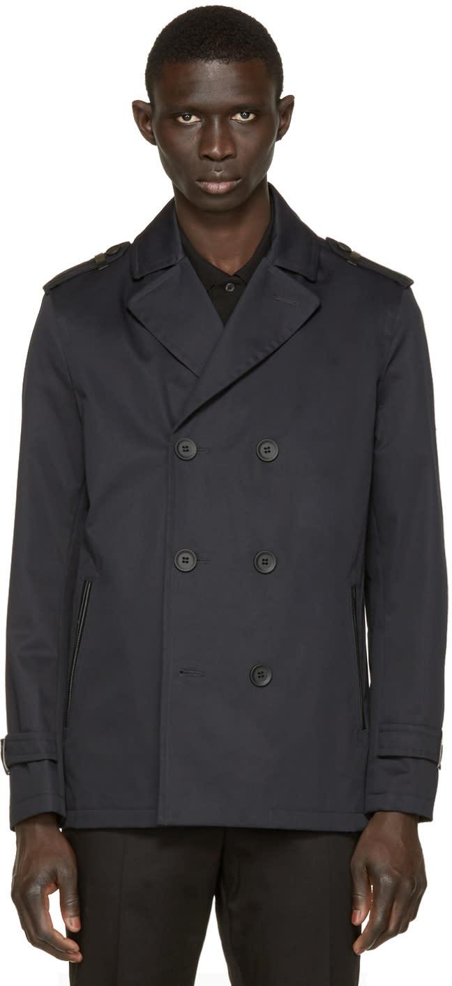Mackage Navy Twill Alwyn Trench Coat