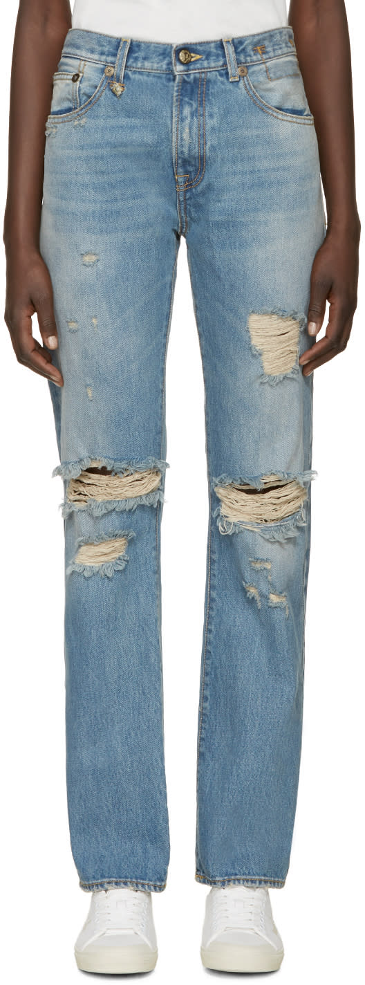 R13 Blue Distressed Classic Jeans