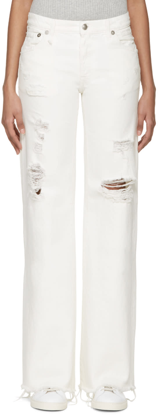 R13 Ivory Flared Jane Jeans