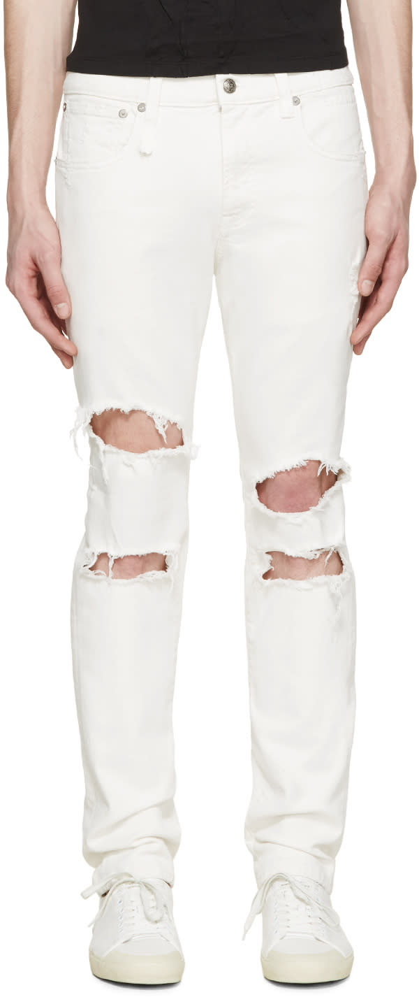 R13 White Shredded Skate Jeans