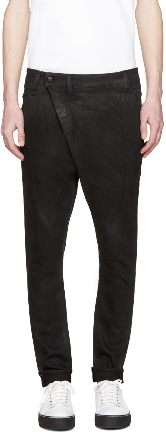 R13 Black Coated X-over Jeans