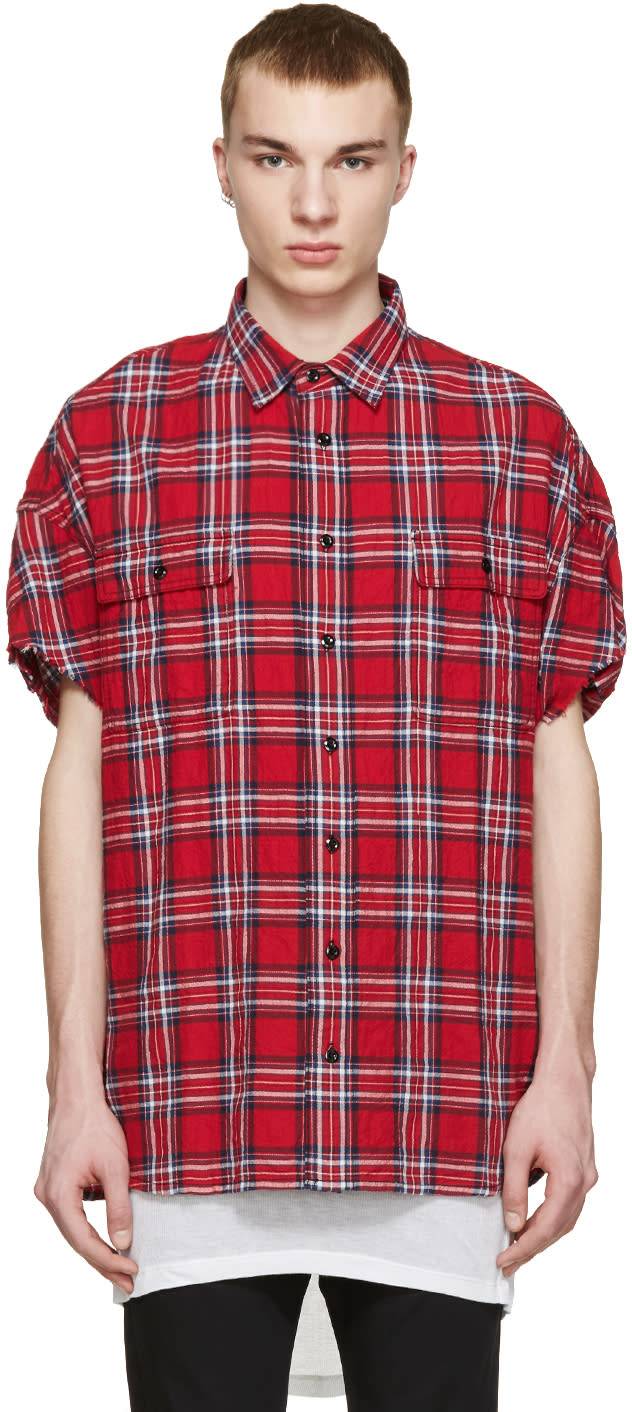 R13 Red Check Cut Off Shirt