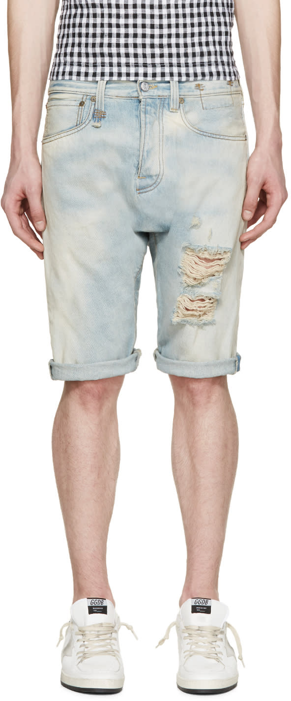 R13 Blue Denim Ian Shorts