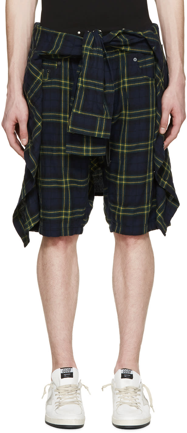 R13 Navy and Green Check The Cornell Shorts