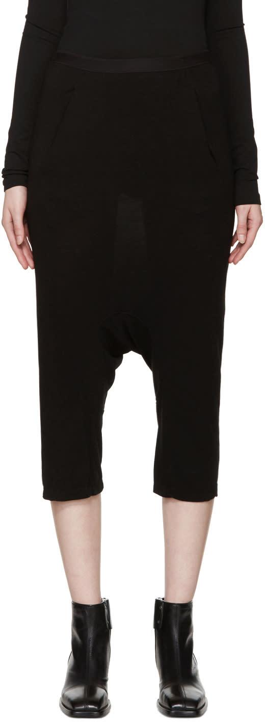 Rick Owens Lilies Black Jersey Sarouel Shorts