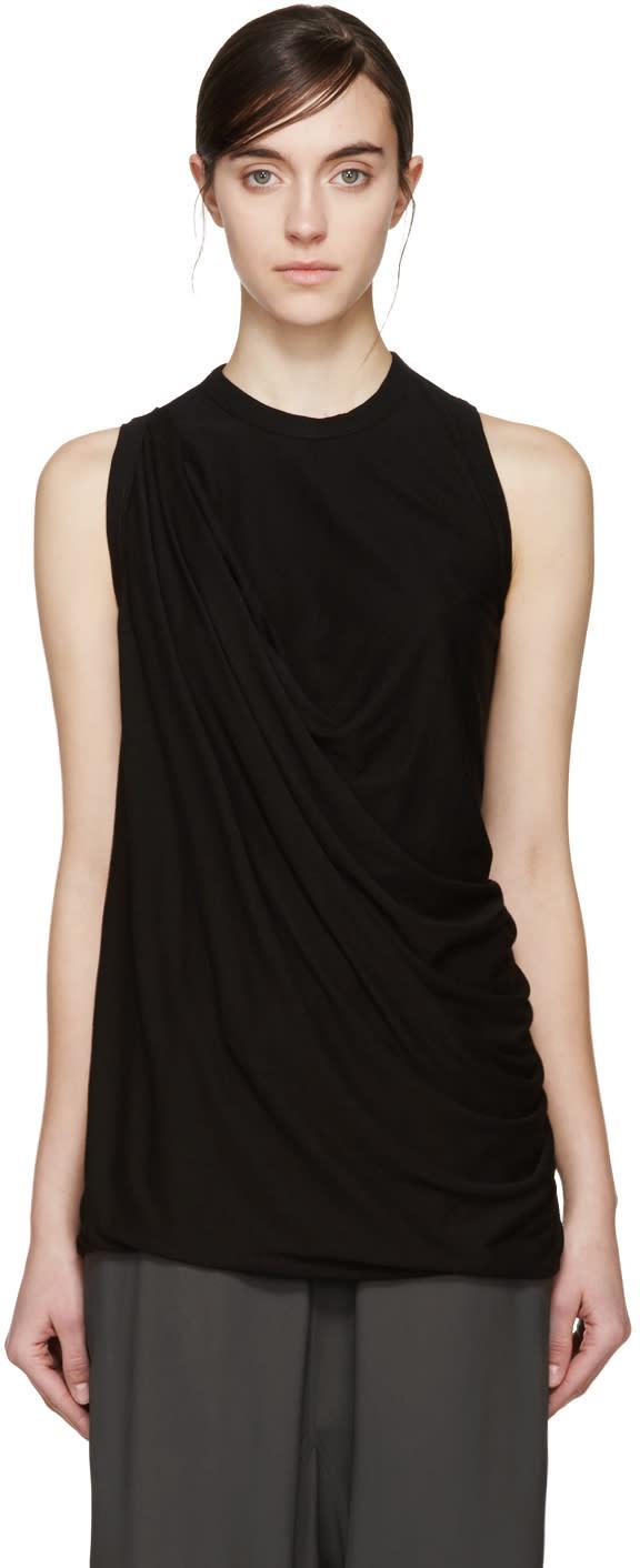 Rick Owens Lilies Black Draped Jersey T-shirt
