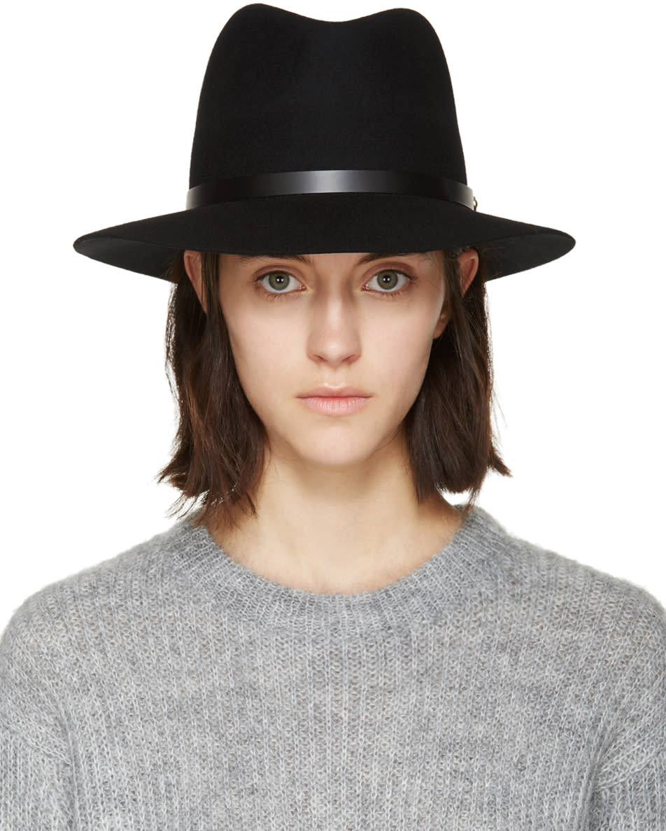 Rag and Bone Black Felted Wool Fedora