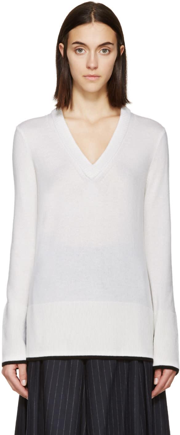 Rag and Bone Ivory V-neck Flavia Sweater