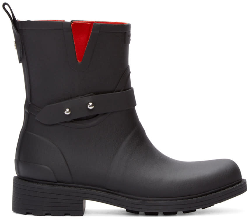 Rag and Bone Black Biker Rain Boots