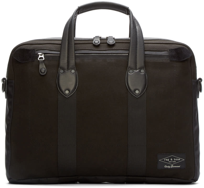 Rag and Bone Black Canvas Derby Briefcase