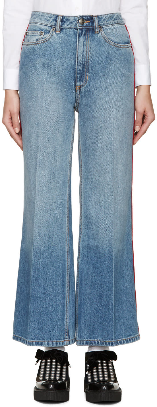 Marc By Marc Jacobs Blue and Red High-wasted Flared Jeans