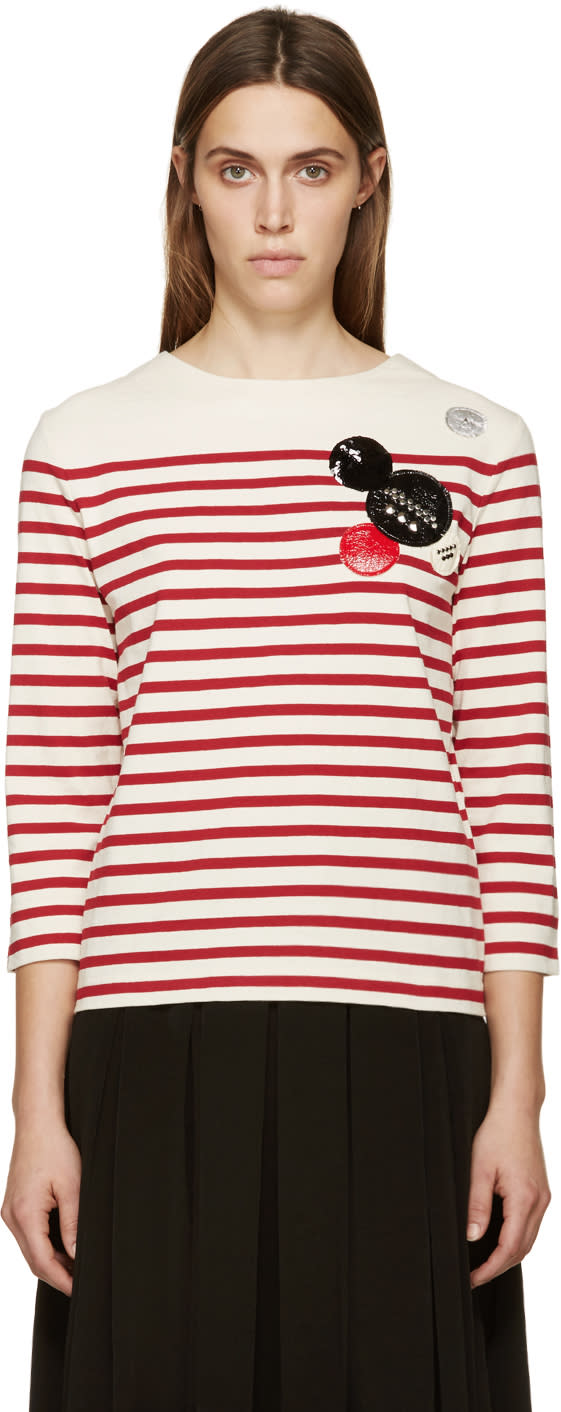 Marc By Marc Jacobs White and Red Breton Striped Crewneck