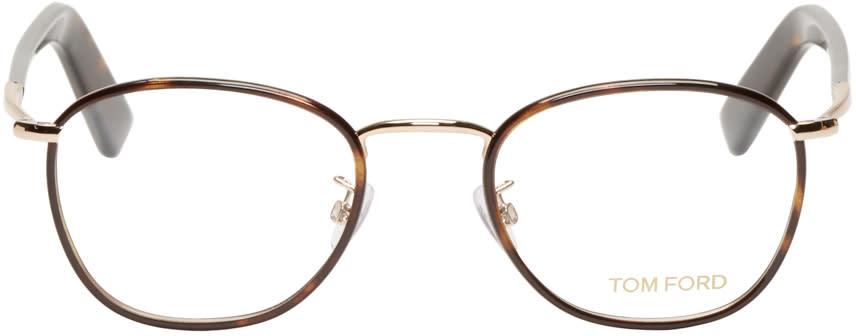 Tom Ford Brown Round Tortoiseshell Tf5333 Optical Glasses