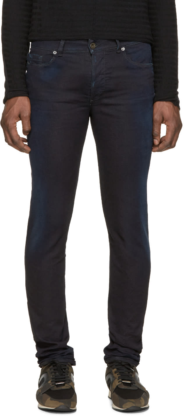 Diesel Black Gold Navy Distressed Skinny Jeans