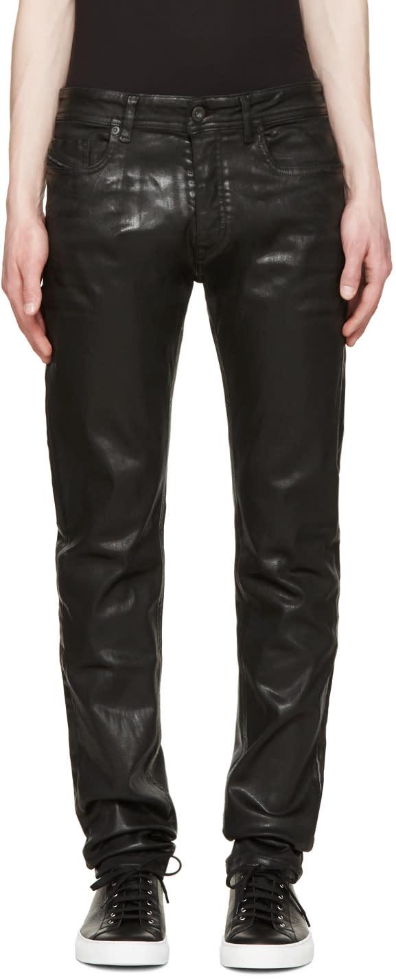 Diesel Black Gold Black Coated Skinny Jeans