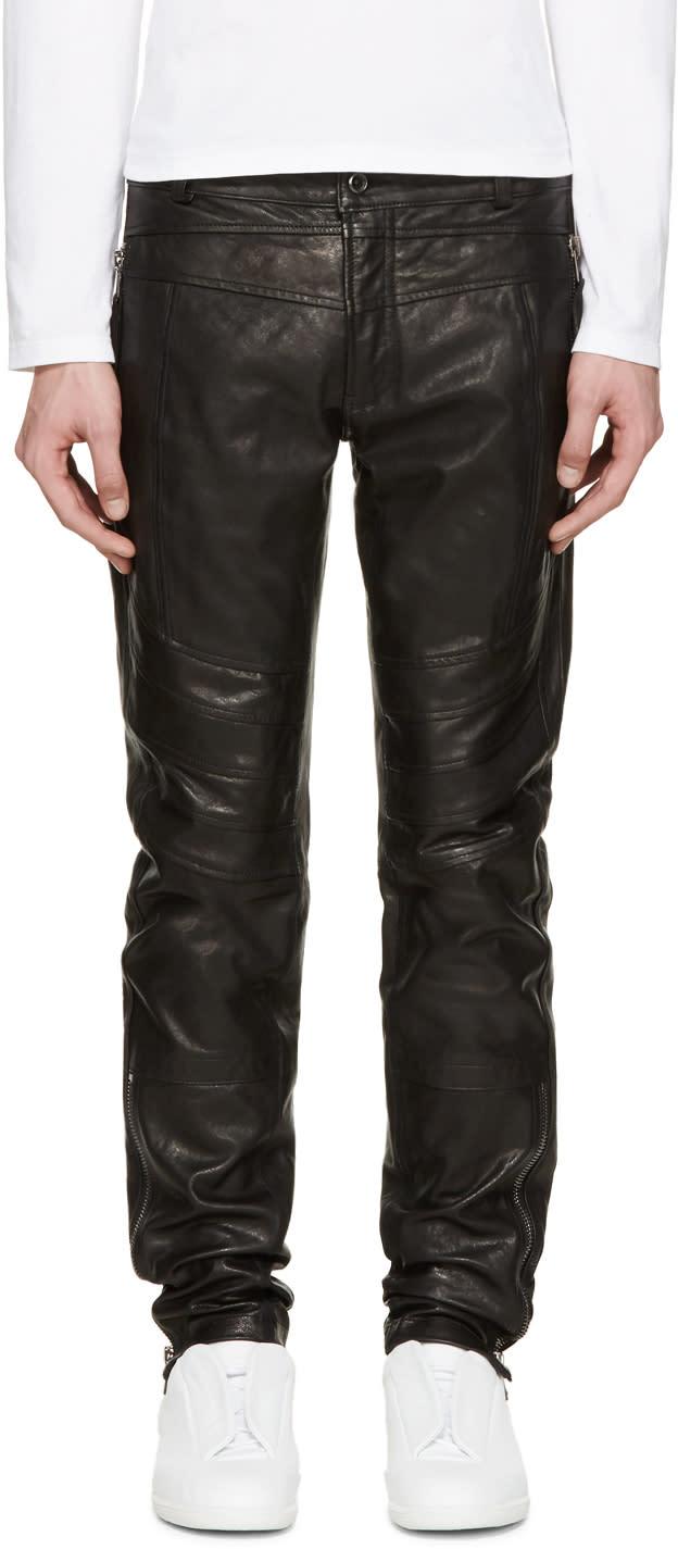 Diesel Black Gold Black Leather Biker Pants