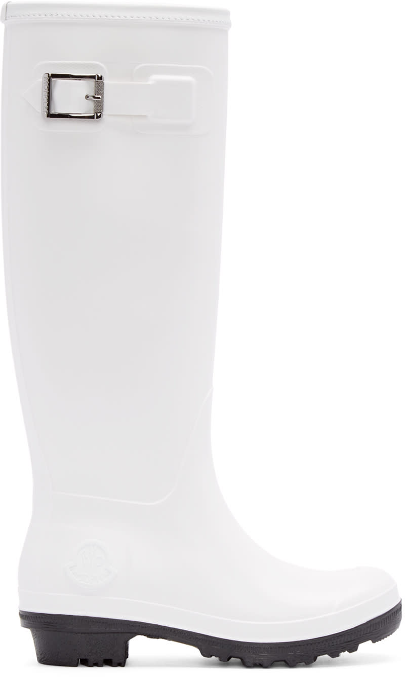 Moncler White Hermine Rubber Boots