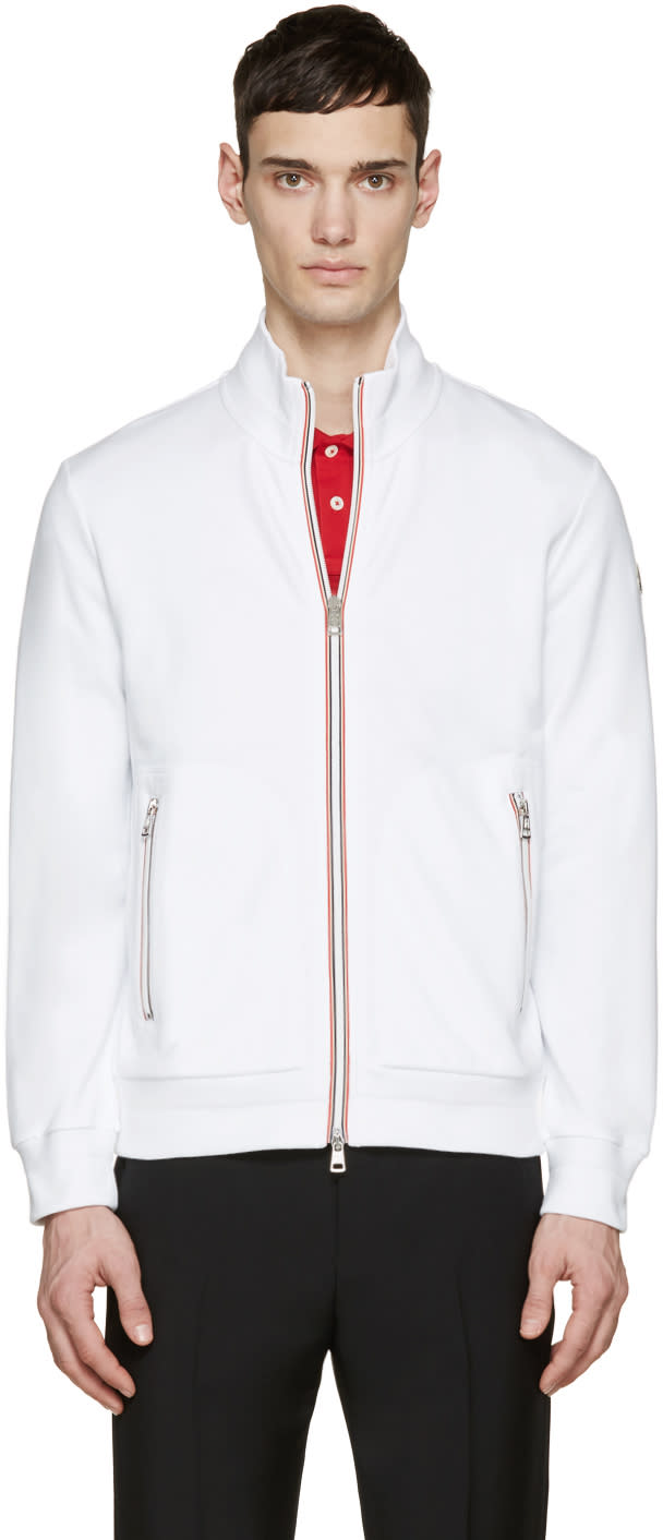 Moncler White French Terry Zip-up