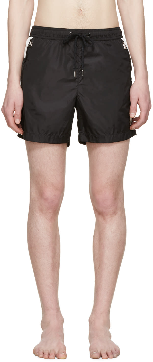 Moncler Black and White Swim Shorts