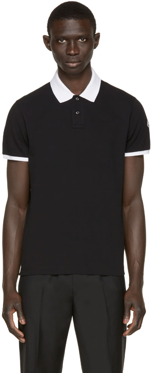 Image of Moncler Black Contrast Collar Polo