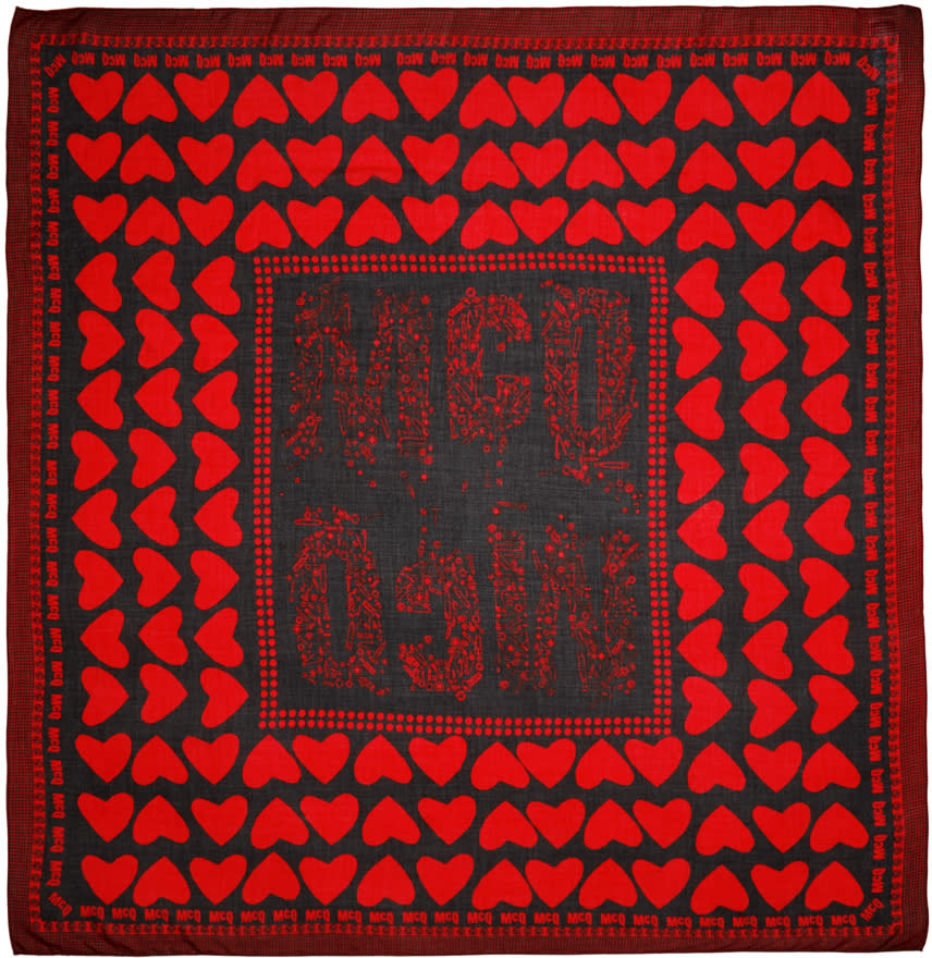Mcq Alexander Mcqueen Red Hearts and Bolts Scarf