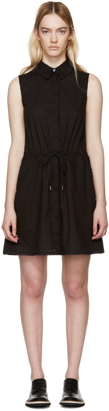 Mcq Alexander Mcqueen Black Drawstring Shirt Dress