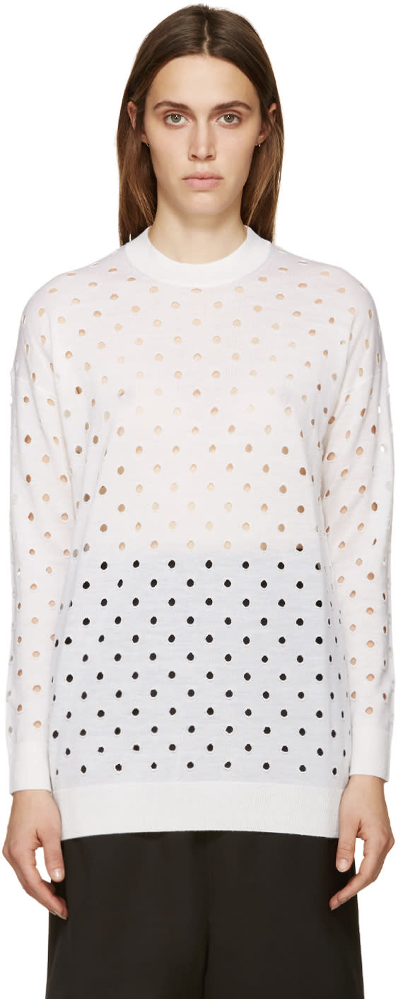 Mcq Alexander Mcqueen Ivory Perforated Sweater