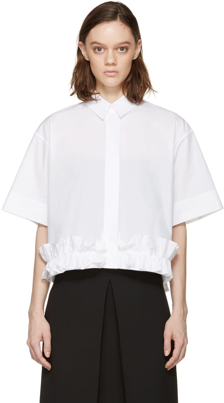 Mcq Alexander Mcqueen White Poplin Ruffle Shirt