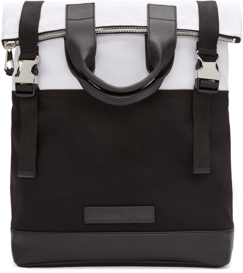 Mcq Alexander Mcqueen Black and White Fold Tote Backpack