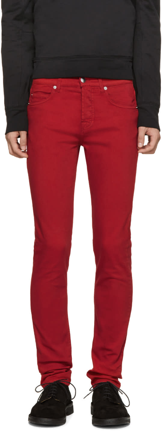 Mcq Alexander Mcqueen Red Skinny Jeans