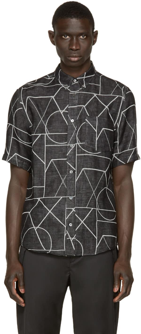 Mcq Alexander Mcqueen Black Printed Doublecloth Shirt