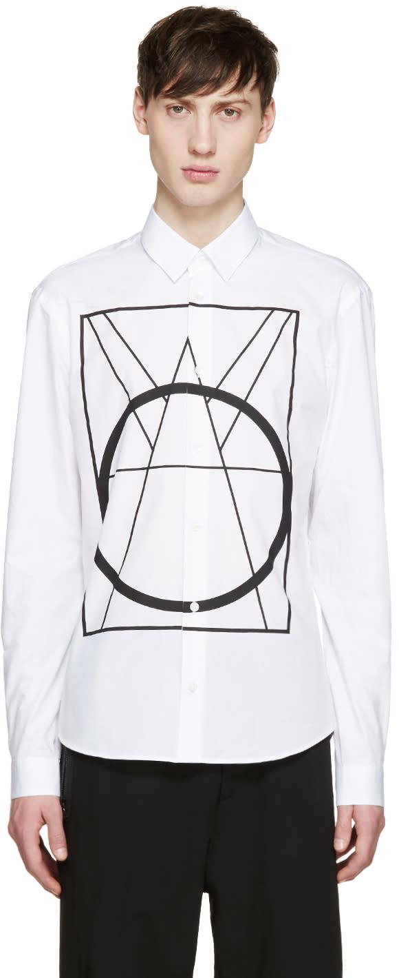 Mcq Alexander Mcqueen White Geometric Print Shirt