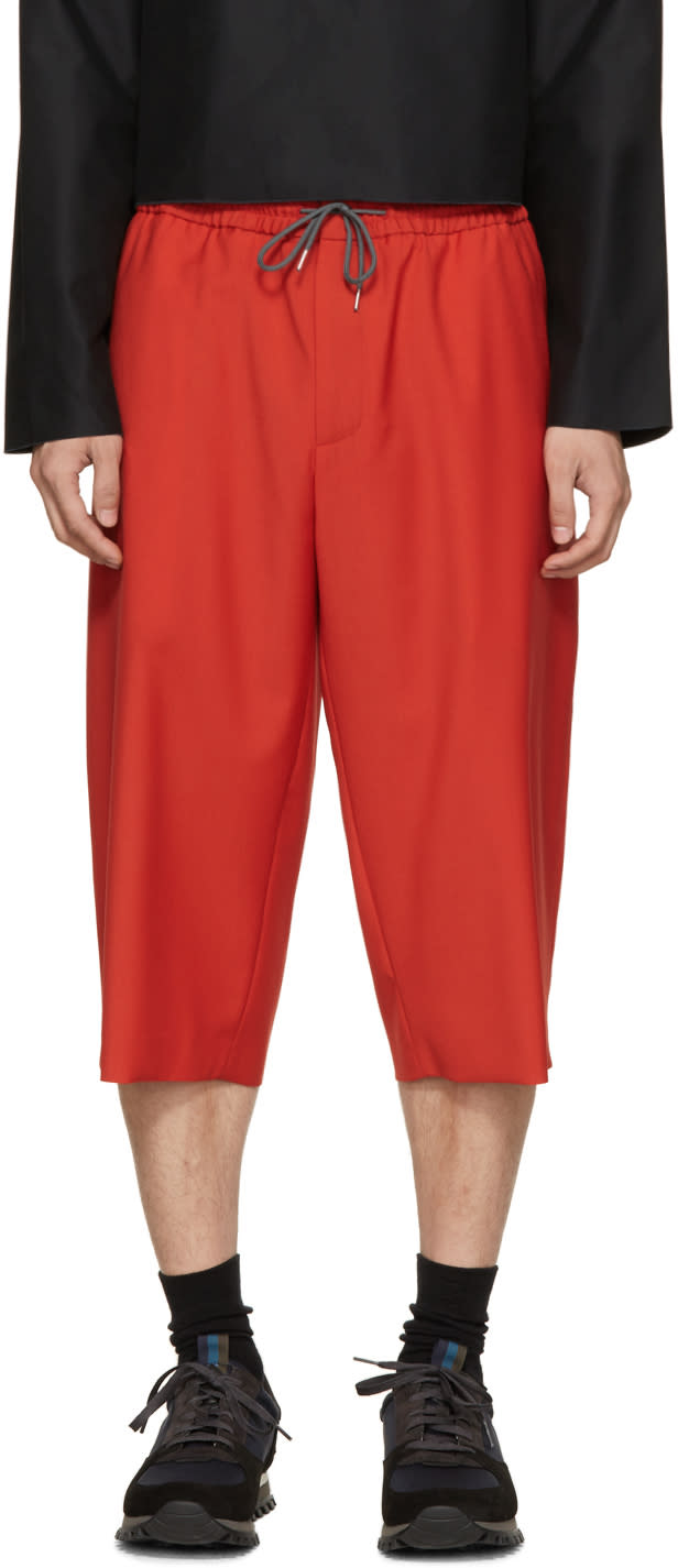 Mcq Alexander Mcqueen Red Wool Drawstring Shorts