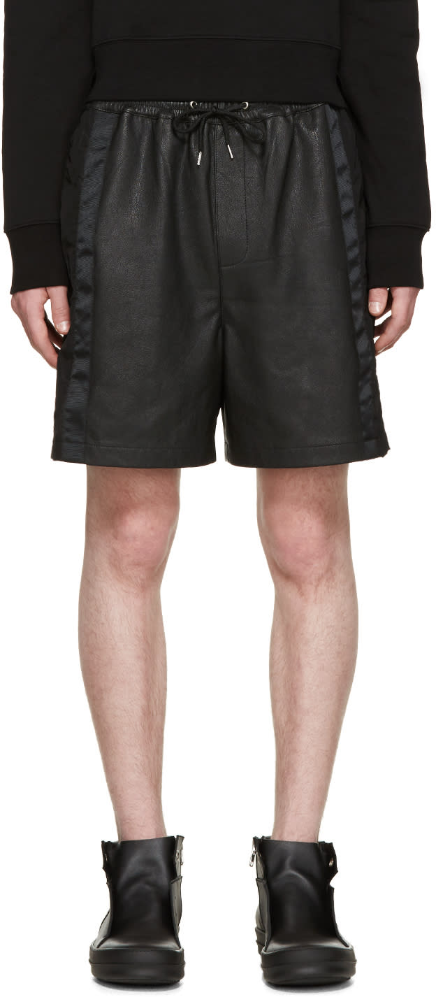 Mcq Alexander Mcqueen Black Leather Mix Shorts