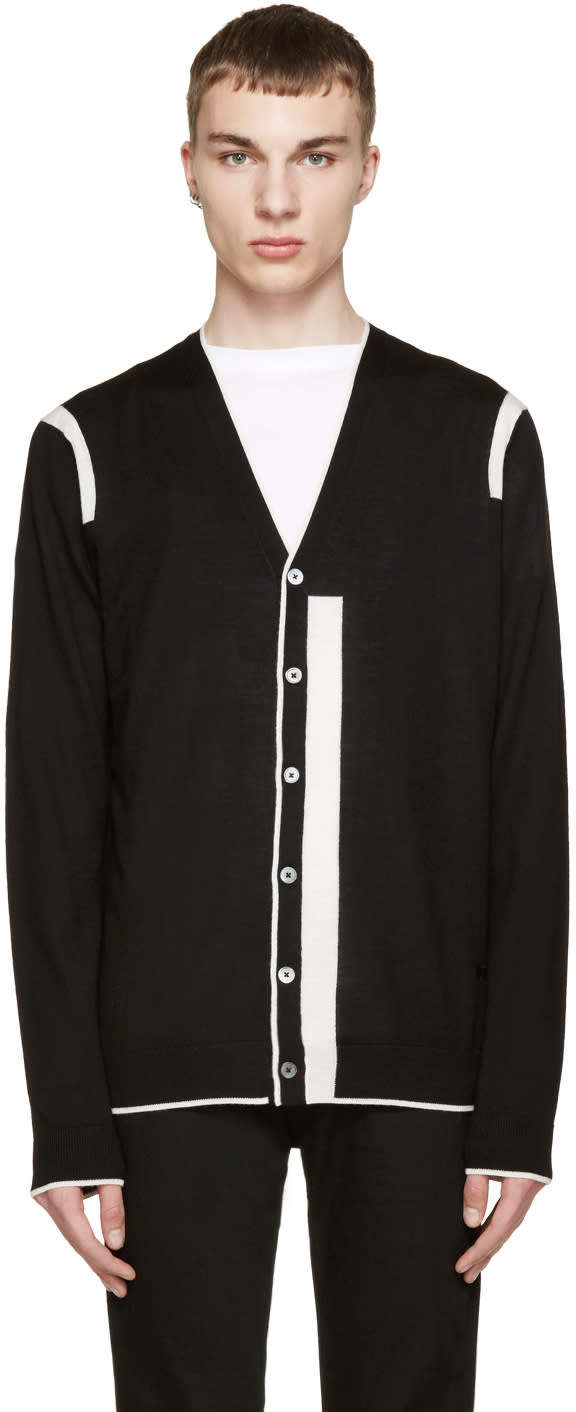 Mcq Alexander Mcqueen Black and White Color Tip Cardigan