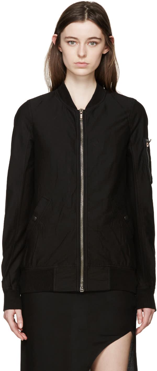 Rick Owens Drkshdw Black Woven Flight Jacket