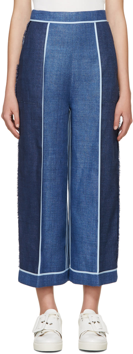 Acne Studios Blue Linen Odette Trousers
