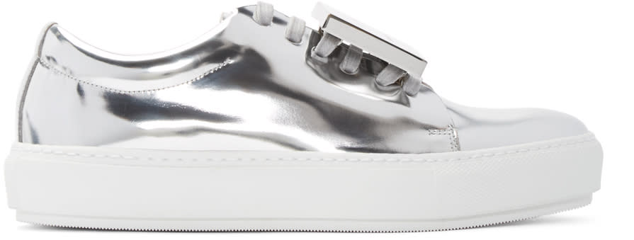 Acne Studios Silver Metallic Leather Adriana Sneakers