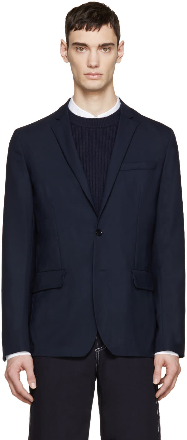 Acne Studios Navy Wool Jack Travel Blazer