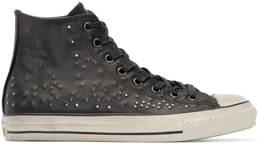 Converse By John Varvatos Black Leather Studded High-top
