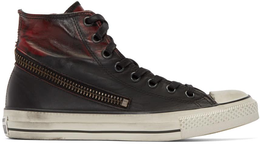 Converse By John Varvatos Black and Red Tornado Zip High-top Sneakers