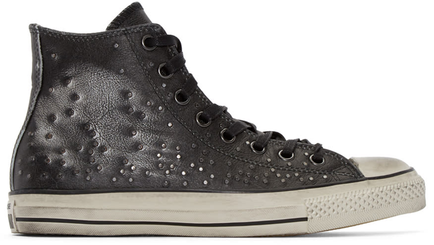 Converse By John Varvatos Black Leather Studded High-top Sneakers