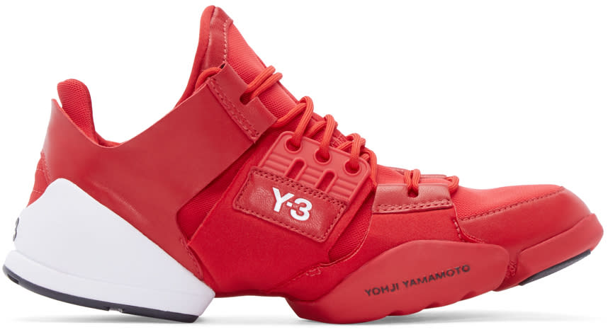 Y-3 Red Leather and Mesh Kanja Sneakers