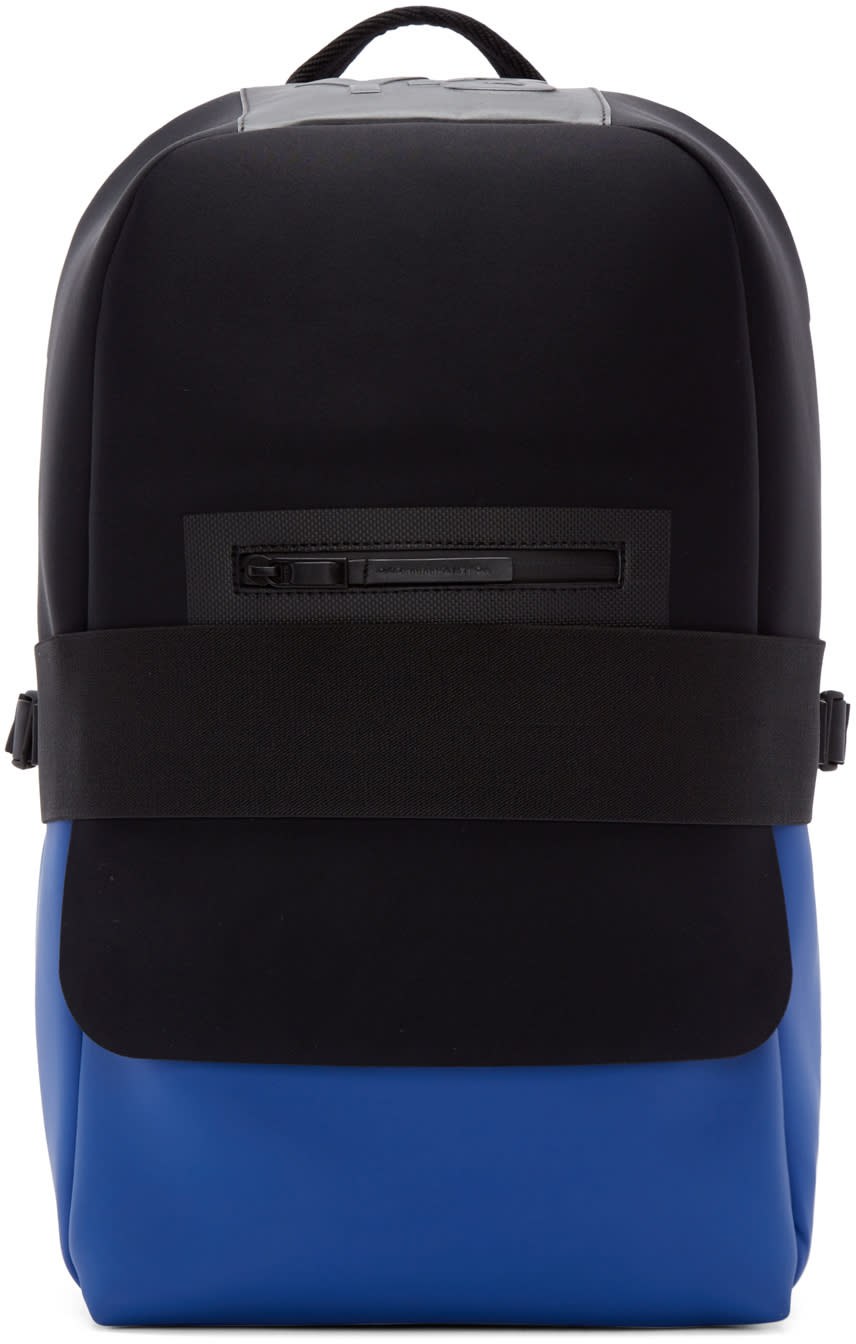 Y-3 Black and Blue Neoprene Qasa Backpack