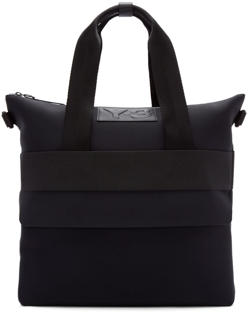 Y-3 Black Neoprene Qasa Shopper Tote
