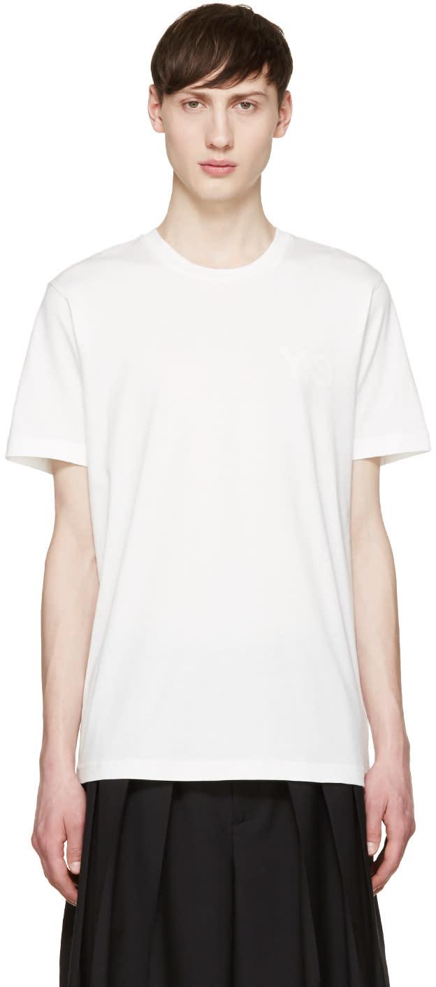 Y-3 White Tonal Logo T-shirt